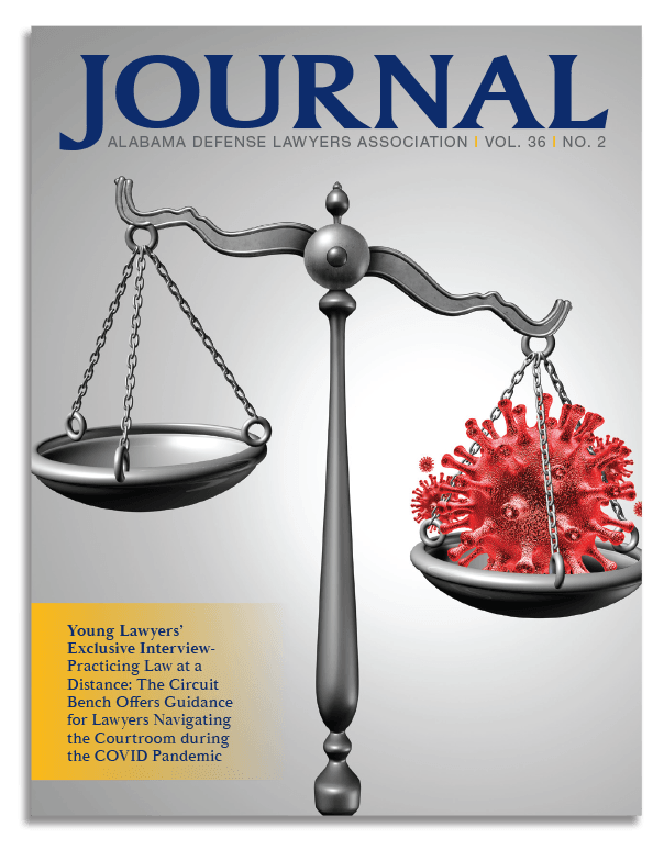 Cover for the Alabama Defense Lawyers Association Journal, Fall 2020 featuring President Andrew J. Rutens and Melissa P. Hunter